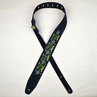 Flower and Leaves Embroidered Black Suede Guitar Strap