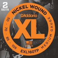 D'Addario EXL160TP Nickel Wound Bass Guitar Strings 50-105 Long Scale Twin Pack