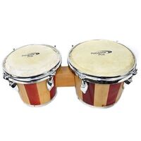 "Percussion Plus 6 & 7"" Wooden Bongos in 2-Tone Gloss Natural Lacquer Finish"