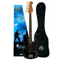 Essex VEP34B 3/4 Size Bass Guitar with Bag in Black